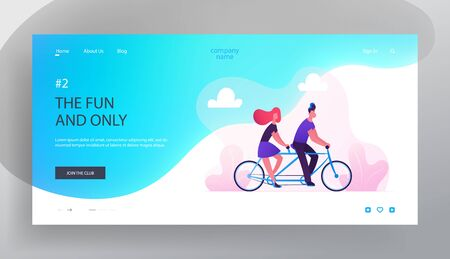 Young Loving Couple Summer Romantic Voyage Website Landing Page. Man and Woman Driving Tandem Bicycle in City Park. Love Relax Characters Cycling Bike Web Page Banner. Cartoon Flat Vector Illustration
