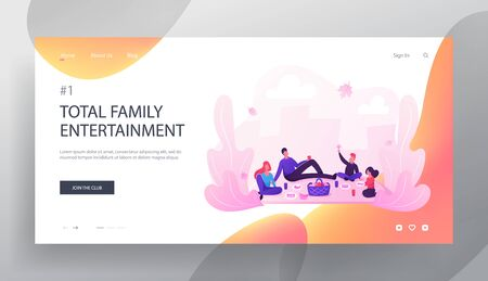 Happy Loving Family on Picnic Website Landing Page. Mother, Father, Daughter and Son Relaxing Together in Park. People Having Autumn Outdoors Activity Web Page Banner. Cartoon Flat Vector Illustration