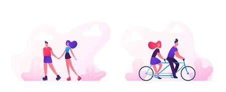 Loving Couple Spend Time Together Cycling on Bike and Skating Rollers. Man Driving Woman on Bicycle Summer Romantic Voyage. Vacation Sparetime, Leisure Love Relations Cartoon Flat Vector Illustration