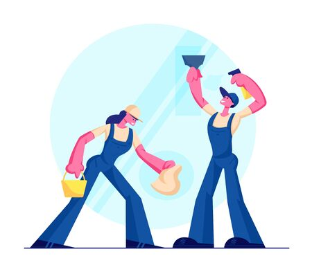 Cleaning Service, Male and Female Characters Wearing Blue Uniform Overalls Washing and Wiping Window with Rag. Man Woman Professional Cleaning Company Working Process. Cartoon Flat Vector Illustration