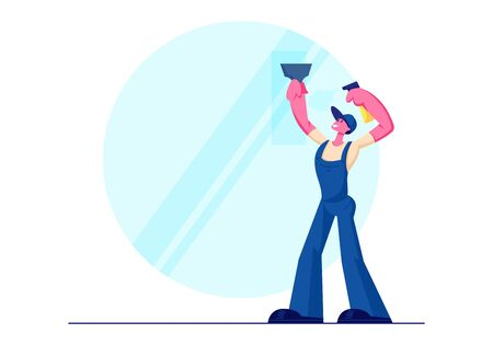 Cleaning Service, Male Character Wearing Blue Uniform Overalls Washing Window Wiper and Water Sprayer . Man Professional Employee of Cleaning Company Working Process. Cartoon Flat Vector Illustration Ilustrace