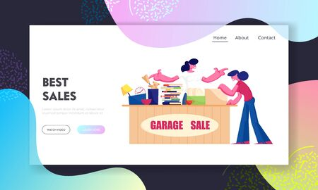 Outdoor Garage Sale Website Landing Page. Woman Offer Junk Goods, Odd Rummage Objects and Different Old Things for People to Buy during Weekend Fair Web Page Banner. Cartoon Flat Vector Illustration  イラスト・ベクター素材