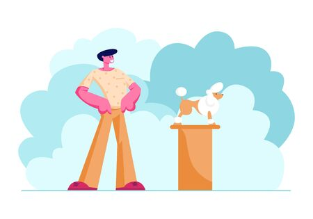 Proud Owner Stand with Arms Akimbo Presenting his Purebred Poodle at Exhibition, Cute Groomed Dog Standing on Pedestal, Take Part in Pet Show Competition, Winner Dog. Cartoon Flat Vector Illustration Illusztráció