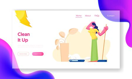 Woman Use Robot in Household Chores Website Landing Page. Smart Technologies in Human Life. Automated Vacuum Cleaner Housework. Artificial Intelligence Web Page Banner Cartoon Flat Vector Illustration Иллюстрация
