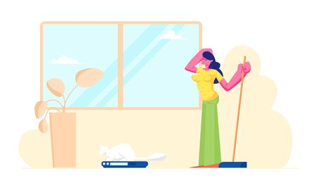 Smart Technologies in Human Life. Woman Use Robot in Household Chores, Automated Vacuum Cleaner Doing Housework. Internet of Things Automation, Artificial Intelligence Cartoon Flat Vector Illustration Иллюстрация