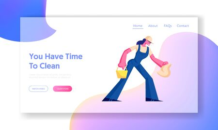 Cleaning Service Website Landing Page. Female Character Holding Bucket and Rag for Washing. Employee of Professional Cleaning Company Working Process. Web Page Banner. Cartoon Flat Vector Illustration