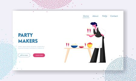 Waiter in Uniform Serving Guests Website Landing Page. Restaurant or Bar Staff Carrying Tray with Glasses of Red Wine Put them on Table with Dishes Web Page Banner. Cartoon Flat Vector Illustration