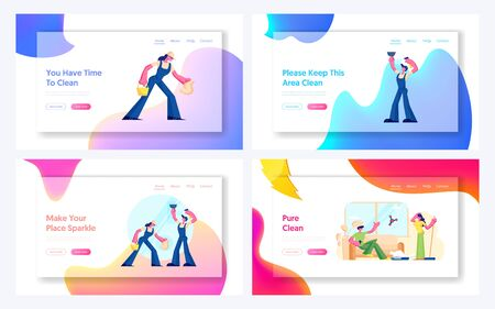 Cleaning Service Company Workers and Smart Technologies in Human Life Website Landing Page Set. Male and Female Characters Washing and Wiping Window Web Page Banner. Cartoon Flat Vector Illustration