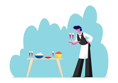 Young Waiter Male Character in Uniform and Apron Carrying Tray with Couple of Glasses with Red Wine Put them on Table with Different Dishes. Restaurant or Bar Staff Cartoon Flat Vector Illustration