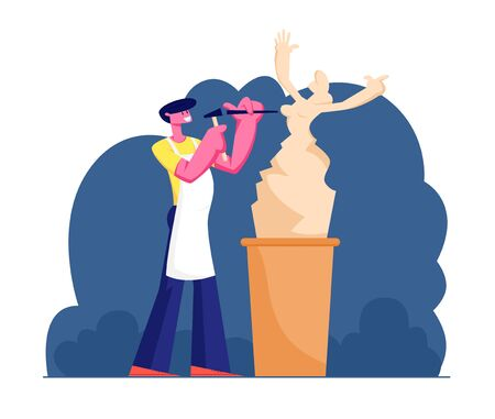 Young Man Sculptor Working on Sculpture Making Female Figure of Stone or Marble. Craft Hobby and Creative Profession. Talented Artist Carver Creative Artistic Hobby Cartoon Flat Vector Illustration