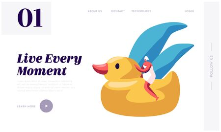 Woman Take Bath Website Landing Page. Tiny Female Character Wrapped in Towel with Turban on Head Sitting on Huge Yellow Rubber Duck. Hygiene Procedure Web Page Banner. Cartoon Flat Vector Illustration