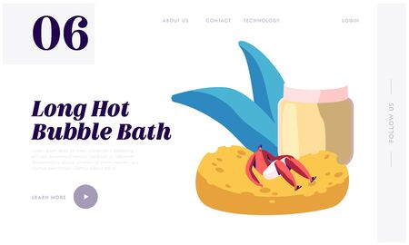 Bathing in Sauna or Banya Website Landing Page. Happy Man Wrapped in Towel Lying on Huge Sponge Taking Bath Washing Body. Wellness Activity Recreation Web Page Banner. Cartoon Flat Vector Illustration