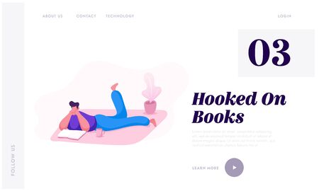 Education or Reading Hobby Website Landing Page. Man Lying on Floor with Cup of Tea Read Book. Student Prepare to Exam, Character Gaining Knowledge Web Page Banner. Cartoon Flat Vector Illustration  イラスト・ベクター素材