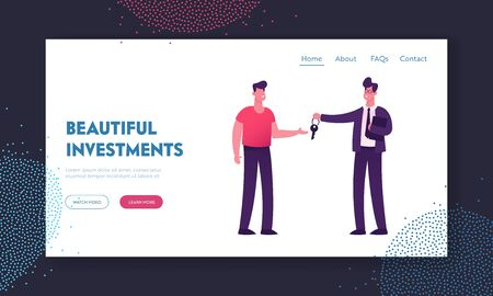 Realtor Selling or Renting House Website Landing Page. Young Man Buying Home Manager Make Deal with Owner of House Giving him Key for New Living Place Web Page Banner. Cartoon Flat Vector Illustration