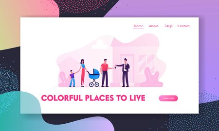 Man Selling or Renting House to Couple with Children Website Landing Page. Happy Family with Little Kids Getting Keys from Agent Moving to New Home Web Page Banner. Cartoon Flat Vector Illustration