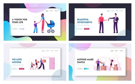 Relocation and Moving to New House Website Landing Page Set. Web Page Banner. Man Selling or Renting House to Couple with Children, Happy Family Carry Boxes to Home Cartoon Flat Vector Illustration