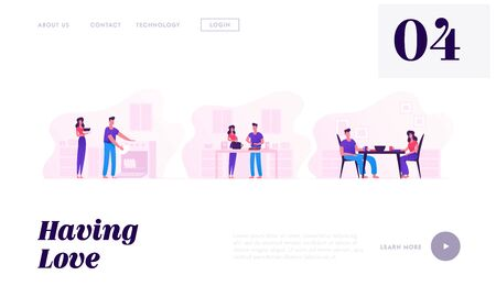 Young Loving Couple Cooking Together Website Landing Page. Family Prepare Food, Having Meal and Washing Dishes. Every Day Routine, Love and Relations Web Page Banner. Cartoon Flat Vector Illustration