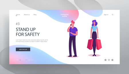 People Stand in Lobby Waiting Lift Website Landing Page. Man in Casual Clothing Speaking by Mobile Phone and Young Styled Woman Holding Shopping Bags Web Page Banner. Cartoon Flat Vector Illustration Stock Illustratie