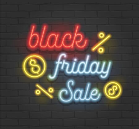 Black Friday Sale Creative Banner with Highly Detailed Realistic Neon Glowing Typography on Black Brick Wall Background. Shiny Colorful Signboard with Percent and Dollar Signs. Vector Illustration