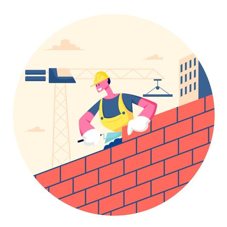 Builder Male Character Wearing Helmet and Uniform Holding Trowel Put Concrete for Laying Brick Wall Completed and Rejoice of Work. Man Engineer at Construction Site. Cartoon Flat Vector Illustration