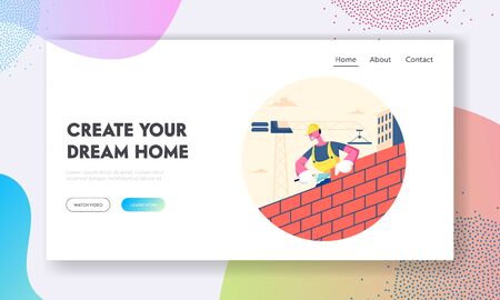 Man Builder Working at Construction Site Website Landing Page. Worker Wearing Helmet and Uniform Holding Trowel Put Concrete for Laying Brick Wall Web Page Banner. Cartoon Flat Vector Illustration  イラスト・ベクター素材