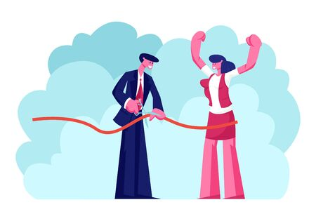 Businessman or Politician and Woman Partner Cutting Red Ribbon with Scissors on Grand Opening Ceremony Celebrating Start of New Institution, Open Presentation Event. Cartoon Flat Vector Illustration