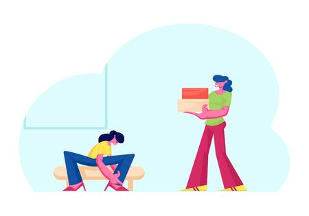 Young Woman Trying on Shoes Sitting on Couch, Saleswoman Carry Boxes with Footgear to Customer in Store. Girl Choose and Fitting Footwear in Market or Shopping Mall. Cartoon Flat Vector Illustration Çizim