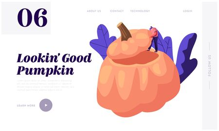 Pumpkin Dish Website Landing Page. Tiny Male Character Stand on Huge Hollow Gourd Prepared for Thanksgiving Day Celebration, Ripe Squash Festive Meal Web Page Banner. Cartoon Flat Vector Illustration Ilustração