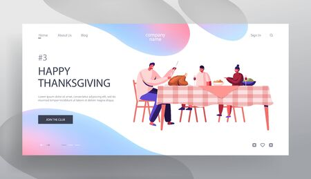 Happy Family Dad and Kids Thanksgiving Day Celebration Website Landing Page. Father Cut Roasted Turkey Sitting at Table with Festive Food and Drinks Web Page Banner. Cartoon Flat Vector Illustration Иллюстрация