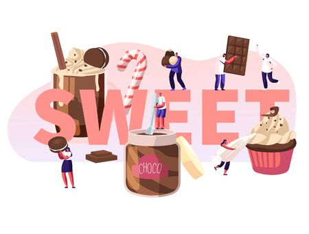 People Eating Sweet Food Concept. Tiny Male and Female Characters among Huge Chocolate Dessert Dishes Pastry Cupcake Candy Cane Cocktail Poster Banner Flyer Brochure. Cartoon Flat Vector Illustration Stock Illustratie