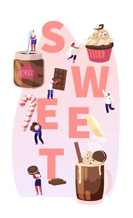 People Eating Sweet Food Concept. Tiny Male and Female Characters among Huge Chocolate Dessert Dishes Pastry Cupcake Candy Cane Cocktail Poster Banner Flyer Brochure. Cartoon Flat Vector Illustration Illustration