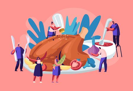 Happy Male and Female Characters Cooking Huge Thanksgiving Turkey. Men and Women Holding Huge Vegetables, Making Sauce, Salt and Spices for Meat. Autumn Family Holiday Cartoon Flat Vector Illustration