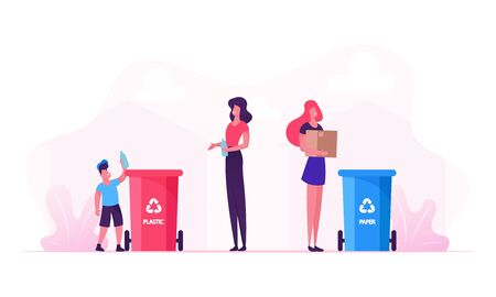 Mother and Son Throw Garbage into Containers with Recycle Sign for Plastic. Woman Use Bin for Collecting Paper Litter Stock Illustratie