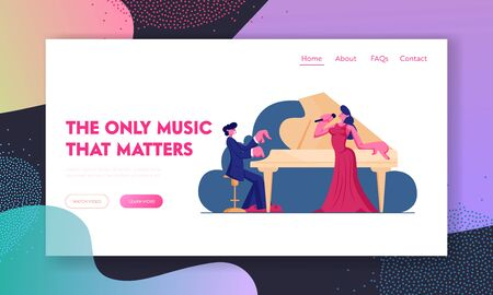 Opera Performance on Stage Website Landing Page. Pianist Playing Classic Music on Grand Piano for Woman Singer