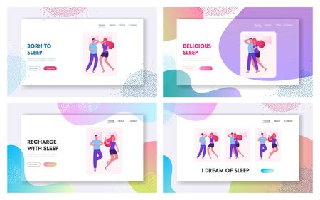 Loving Couple Sleeping and Lounging in Bed Website Landing Page Set. Male and Female Characters Lying Together