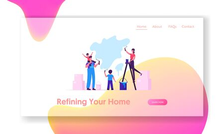 Happy Family with Kids Making Renovation at Home Website Landing Page. Parents and Children Spend Time Together Painting Wall with Rollers in New House Web Page Banner Cartoon Flat Vector Illustration Ilustracja