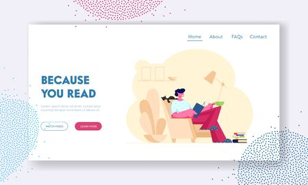 Reading Books Hobby Website Landing Page. Young Man Reader Sitting on Cozy Armchair at Home Read Interesting Book