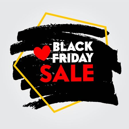 Black Friday Sale Typography with Red Heart Icon and Pentagon Geometric Shape for Discount Offer Poster