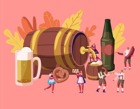 Oktoberfest Concept with Male and Female Characters Wearing Traditional German Costumes Banco de Imagens - 129983681
