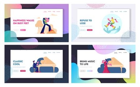 Classic Music Concert, Hiking and Skateboarding Website Landing Page Set. Opera Singer and Pianist Performing on Stage Illustration