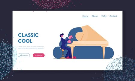 Talented Artist Performing on Scene Website Landing Page. Pianist Playing Musical Composition on Grand Piano