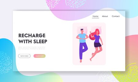 Sleeping People Website Landing Page. Heterosexual Couple Man and Woman Lying in One Bed Relaxing