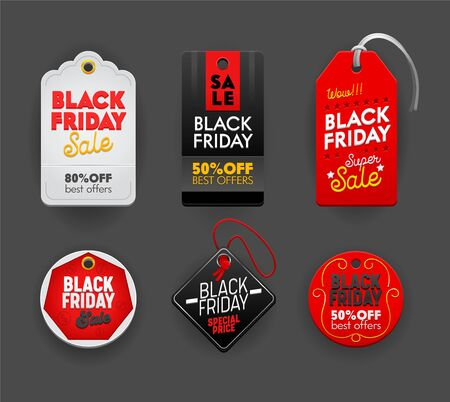 Black Friday Sale Set of Tags Emblems, Labels Icons and Signs with Typography for Price Offer Cards