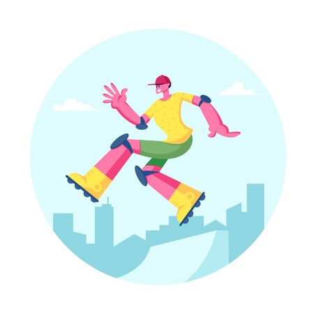 Young Man in Modern Fashioned Clothing and Cap Jumping on Skateboard. Skateboarder Male Character, Skateboarding Illustration