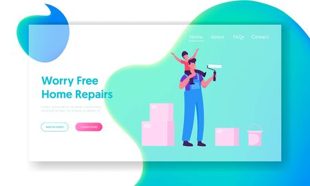 Renovation and Overhaul House Interior Website Landing Page. Father and Little Son Coloring Wall with Paint Rollers Иллюстрация
