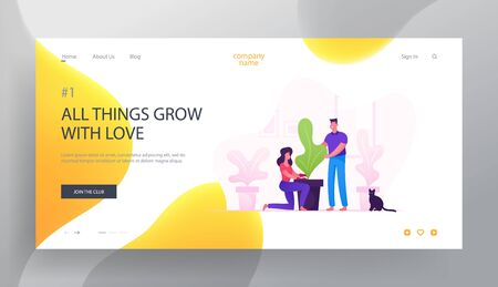 Happy Couple Care of Houseplants Website Landing Page. Man and Woman Cultivating Potted Plant at Home
