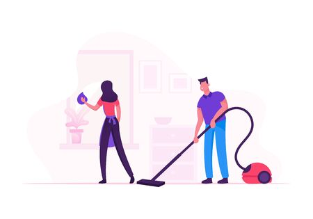 Happy Couple Homework Duties and Everyday Activity. Smiling Young Man and Woman Cleaning House Together  イラスト・ベクター素材