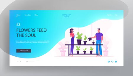Happy Romantic Couple Enjoying Gardening Hobby Website Landing Page. Man and Woman Spraying and Watering Flowers Illustration