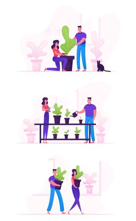 Set of Happy Family Couple Homework with Plants. Man and Woman Characters Caring of Flowers Çizim