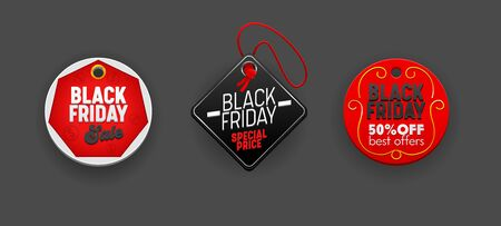 Black Friday Sale Round and Rhombus Tags Set, Discount Templates. Various Design Elements for Decorating Promo